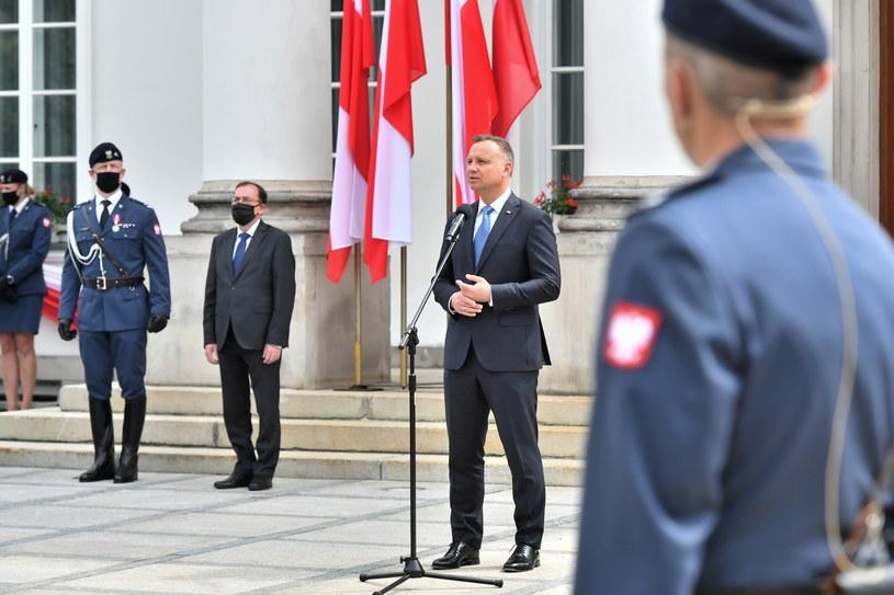 Prezydent podczas święta Służby Ochrony Państwa /Andrzej Lange /PAP