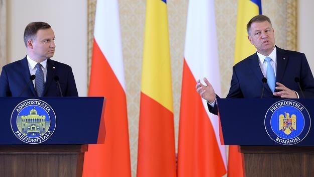 Prezydent Polski Andrzej Duda (L) i prezydent Rumunii Klaus Werner Iohannis (P) w Bukareszcie /PAP