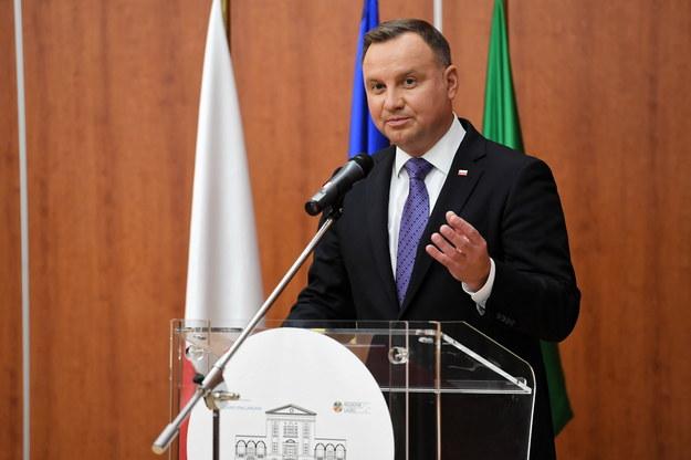 Prezydent Polski Andrzej Duda podczas wizyty w Instytucie Spallanzani w Rzymie. /Piotr Nowak /PAP