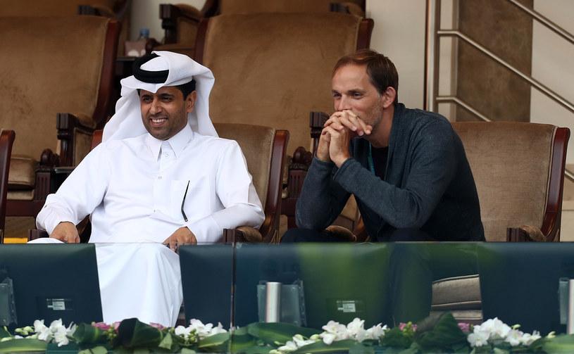 Prezydent PSG Nasser Al-Khelaifi i trener Thomas Tuchel /AFP