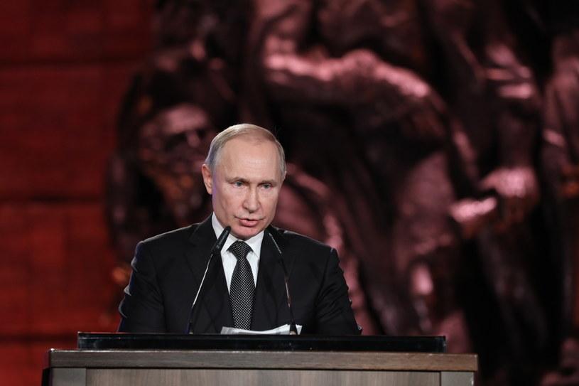Prezydent Rosji Władimir Putin przemawiający w Yad Vashem /ABIR SULTAN / POOL /PAP/EPA