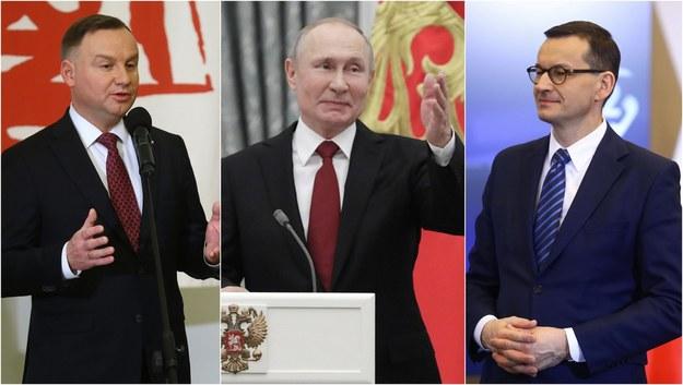 Prezydent RP Andrzej Duda (fot. Rafał Guz), prezydent Federacji Rosyjskiej Władimir Putin (fot. Mikhail Metzel/ITAR-TASS) i premier RP Mateusz Morawiecki (fot. Rafał Guz) /PAP /
