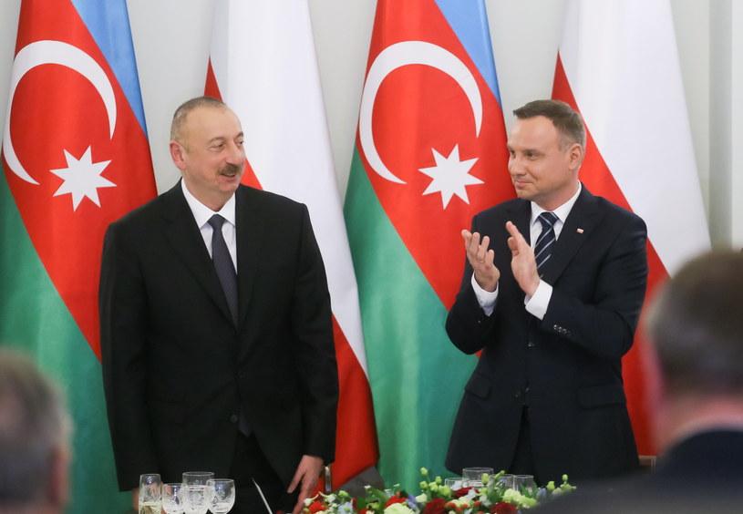 Prezydent RP Andrzej Duda i prezydent Azerbejdżanu Ilham Alijew /Paweł Supernak /PAP