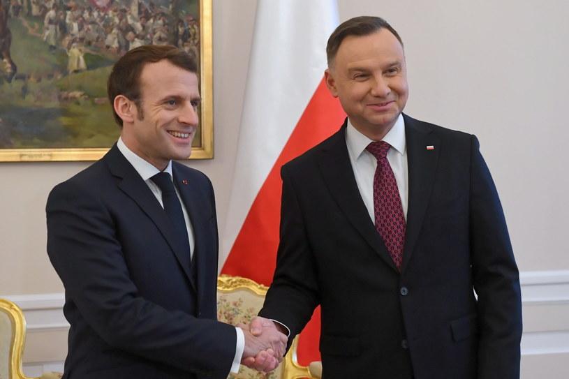 Prezydent RP Andrzej Duda i prezydent Francji Emmanuel Macron / Radek Pietruszka   /PAP