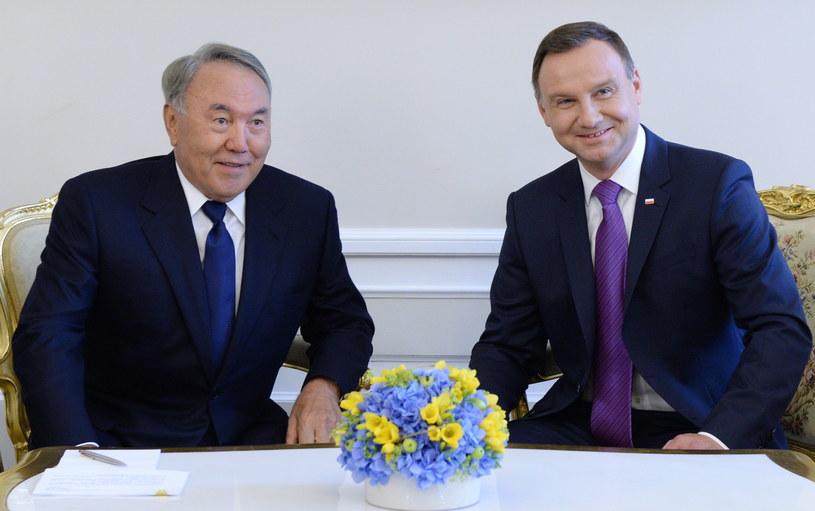 Prezydent RP Andrzej Duda i prezydent Kazachstanu Nursułtan Nazarbajew /Jacek Turczyk /PAP