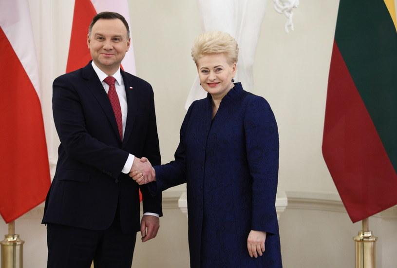 Prezydent RP Andrzej Duda i prezydent Litwy Dalia Grybauskaite /Leszek Szymański /PAP