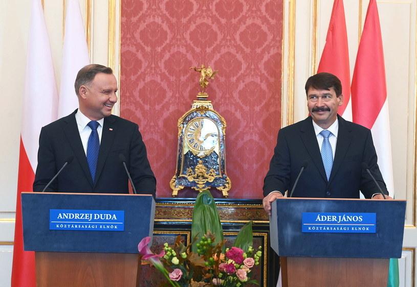 Prezydent RP Andrzej Duda i prezydent Węgier Janos Ader /PAP/EPA/Noemi Bruzak /PAP