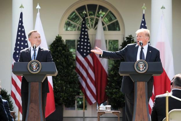 Prezydent RP Andrzej Duda oraz prezydent Stanów Zjednoczonych Donald Trump /Leszek Szymański /PAP