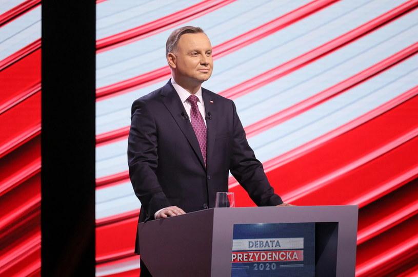Prezydent RP Andrzej Duda podczas debaty kandydatów na prezydenta RP w Telewizji Polskiej /Paweł Supernak /PAP