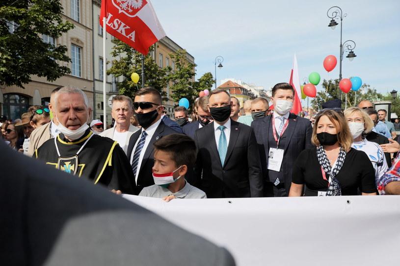Prezydent RP Andrzej Duda podczas Marszu dla Życia i Rodziny /Leszek Szymański /PAP
