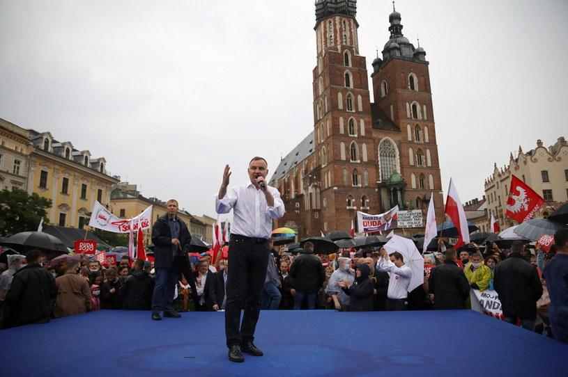 Prezydent RP Andrzej Duda podczas spotkania z mieszkańcami Krakowa //Łukasz Gągulski /PAP