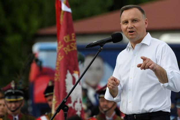 Prezydent RP Andrzej Duda podczas spotkania z mieszkańcami Zaleszan /Darek Delmanowicz /PAP