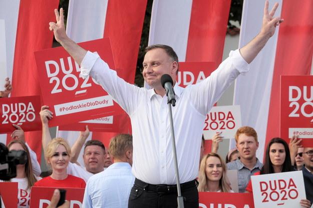 Prezydent RP Andrzej Duda podczas spotkania z wyborcami w Białymstoku / Artur Reszko    /PAP