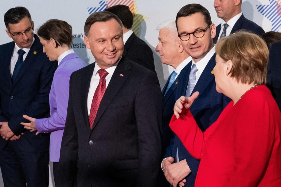 Prezydent RP Andrzej Duda, premier Mateusz Morawiecki i kanclerz Niemiec Angela Merkel, lipiec 2019 /Marek Zakrzewski /PAP