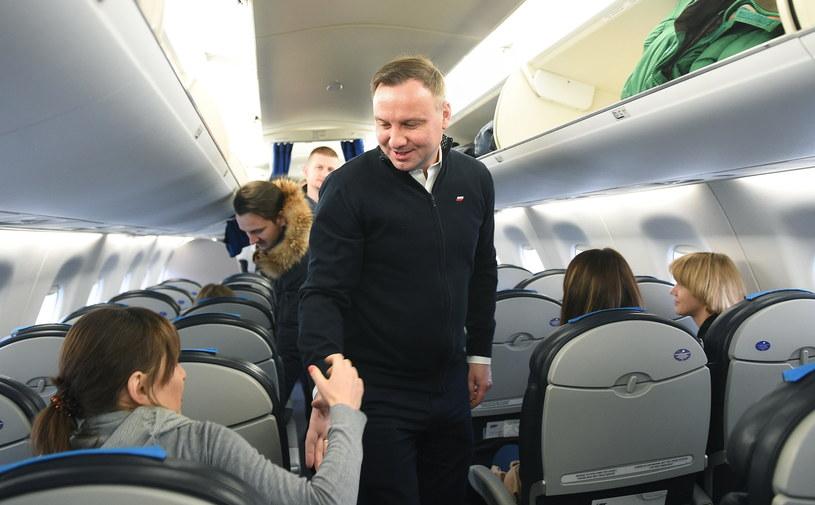 Prezydent RP Andrzej Duda przed wylotem do Davos /Radek Pietruszka /PAP