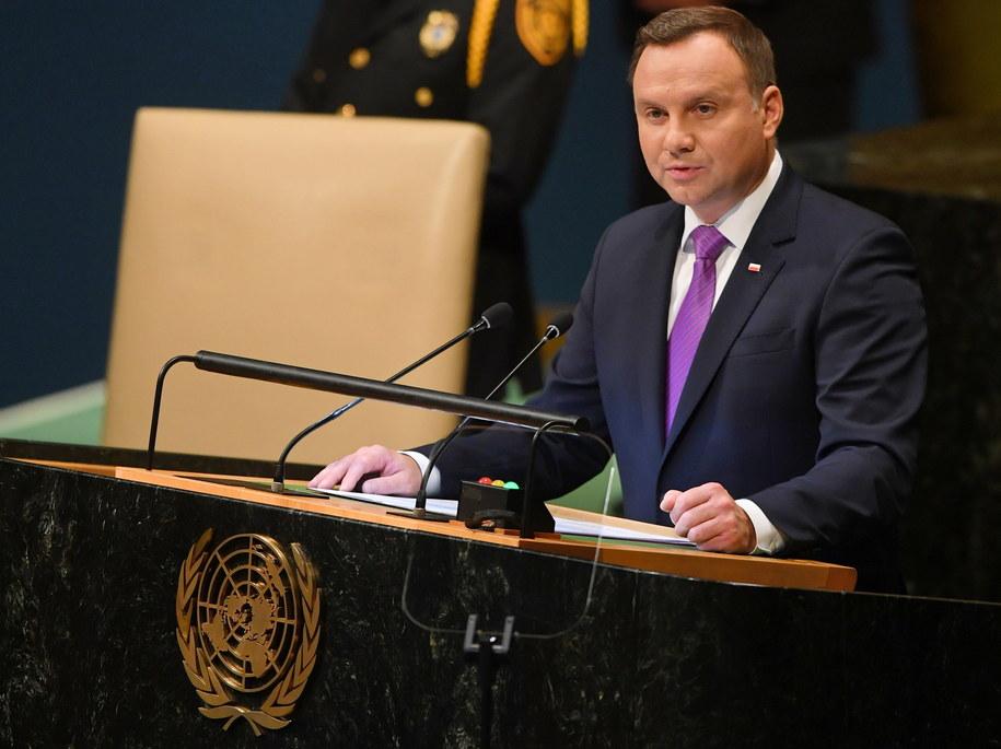 Prezydent RP Andrzej Duda przemawia podczas debaty generalnej 73. sesji Zgromadzenia Ogólnego Narodów Zjednoczonych w Nowym Jorku. /Radek Pietruszka /PAP