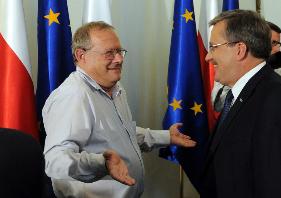Prezydent RP Bronisław Komorowski i Adam Michnik /Grzegorz Jakubowski /PAP
