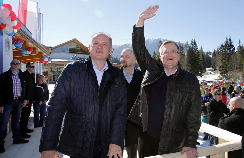 Prezydent RP Bronisław Komorowski i prezydent Słowacji Andrej Kiska /Grzegorz Momot /PAP