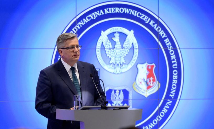 Prezydent RP Bronisław Komorowski, podczas odprawy kierowniczej kadry MON i Sił Zbrojnych RP /Jacek Turczyk /PAP