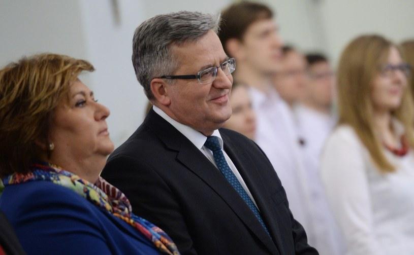 Prezydent RP Bronisław Komorowski z małżonką Anną /Jacek Turczyk /PAP