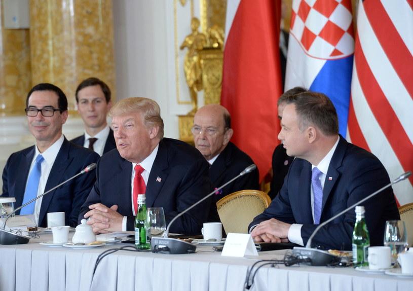 Prezydent Stanów Zjednoczonych Ameryki Donald Trump i prezydent RP Andrzej Duda podczas sesji transatlantyckiej Szczytu Trójmorza /PAP