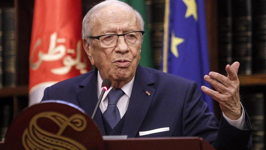 Prezydent Tunezji Bedżi Kaid Essebsi /GIUSEPPE LAMI /PAP/EPA