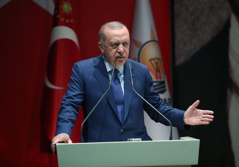 Prezydent Turcji Recep Tayyip Erdogan podczas spotkania przywódców Partii Sprawiedliwości i Rozwoju (AKP) w Ankarze, 05.09.2019. /PRESIDENTIAL PRESS OFFICE / HANDOUT /PAP/EPA