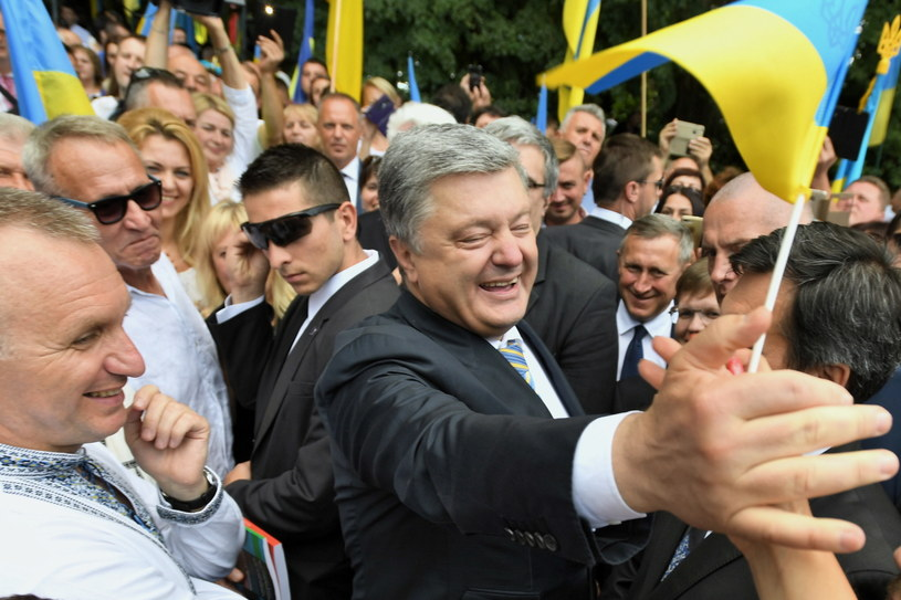 Prezydent Ukrainy Petro Poroszenko podczas wizyty w miejscowości Sahryń /Wojciech Pacewicz /PAP