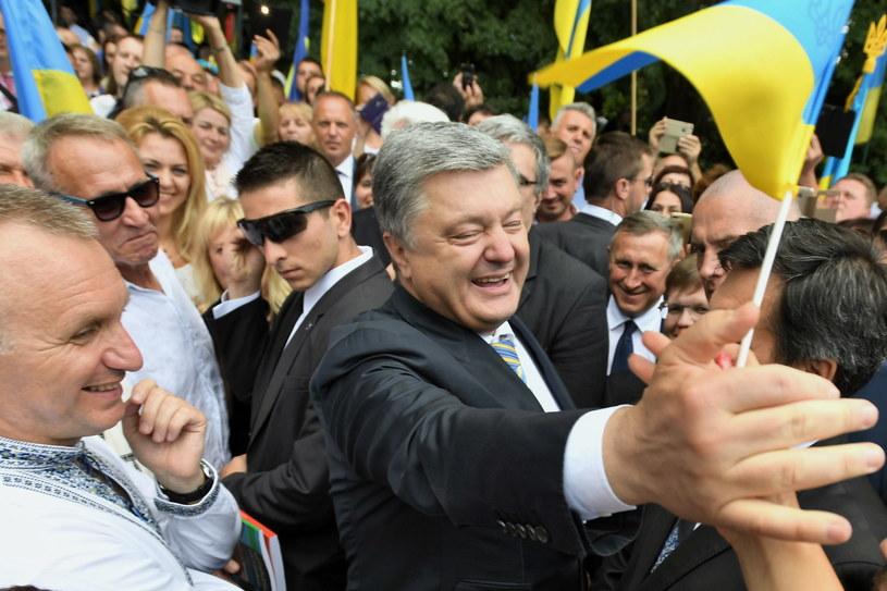 Prezydent Ukrainy Petro Poroszenko podczas wizyty w miejscowości Sahryń na Lubelszczyźnie /Wojciech Pacewicz /PAP