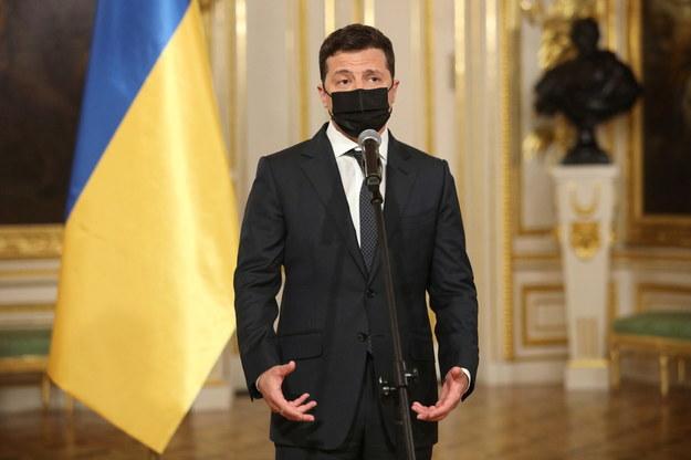 Prezydent Ukrainy Wołodymyr Zełenski podczas konferencji prasowej po zakończeniu spotkania z prezydentem RP Andrzejem Dudą / Leszek Szymański    /PAP