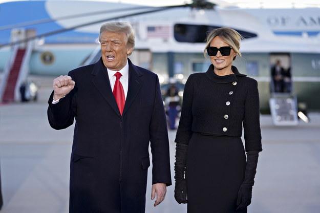 Prezydent USA Donald Trump i Pierwsza Dama Melania Trump tuż po przylocie do bazy wojskowej Joint Base Andrews w stanie Maryland /STEFANI REYNOLDS/POOL /PAP/EPA