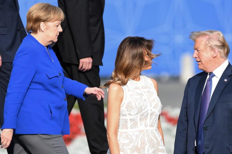 Prezydent USA Donald Trump (P) z żoną Malanią (C) i kanclerz Niemiec Angela Merkel (L) /Radek Pietruszka /PAP