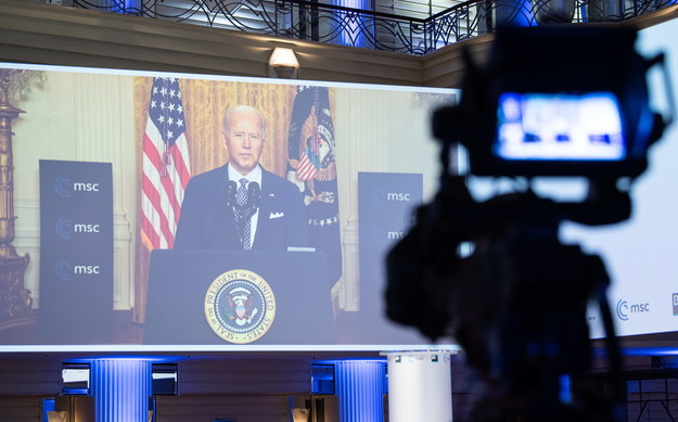 Prezydent USA podczas wideokonferencji /MUELLER / MSC / HANDOUT /PAP/EPA