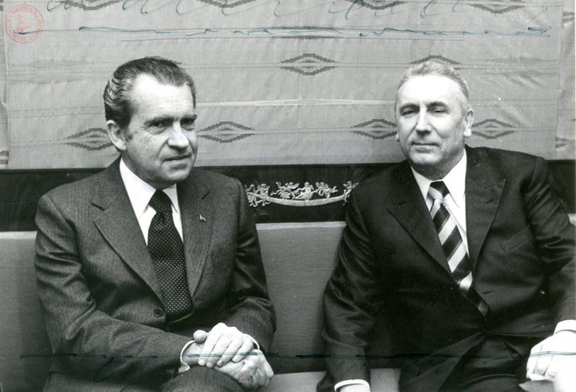 Prezydent USA Richard Nixon z I sekretarzem KC PZPR Edwardem Gierkiem, 31 maja 1972 r. fot. Archiwum Akt Nowych /Z archiwum Narodowego Archiwum Cyfrowego