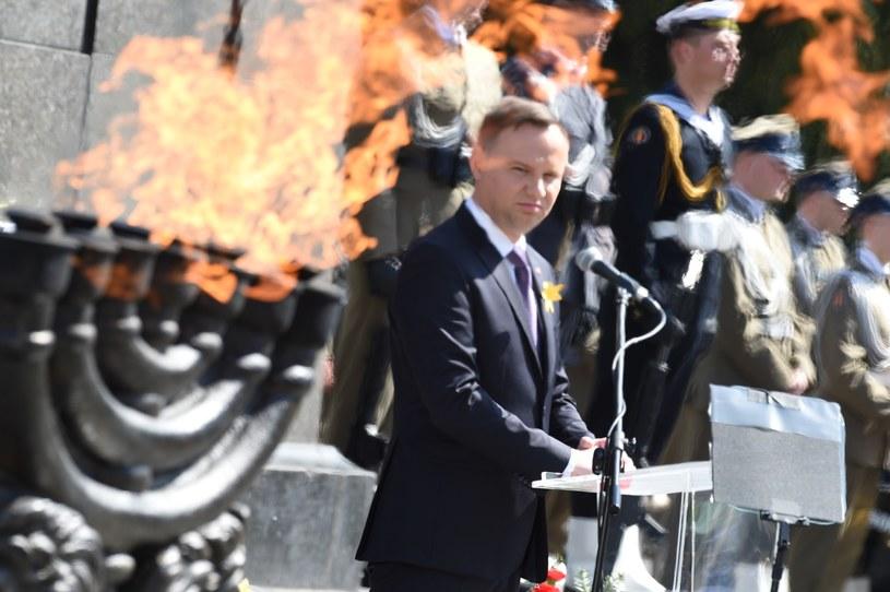 Prezydent w trakcie przemówienia /Jacek Dominski/ /Reporter