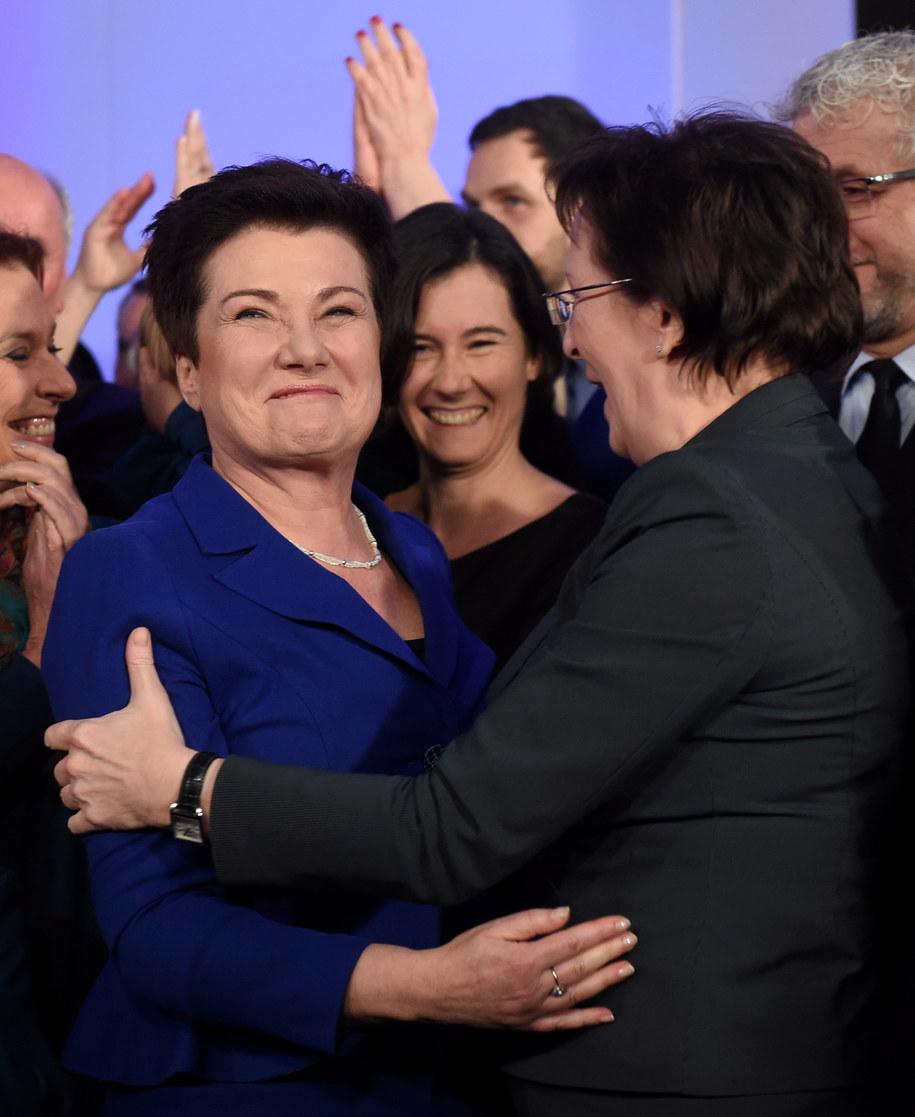 Prezydent Warszawy Hanna Gronkiewicz-Waltz i premier Ewa Kopacz podczas wieczoru wyborczego /Radek Pietruszka /PAP
