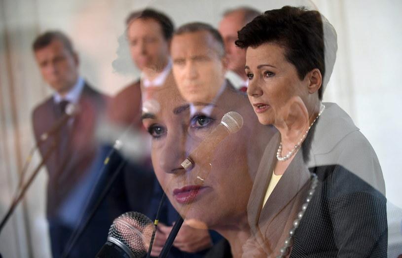 Prezydent Warszawy Hanna Gronkiewicz-Waltz podczas konferencji prasowej po posiedzeniu zarządu PO /Bartłomiej Zborowski /PAP