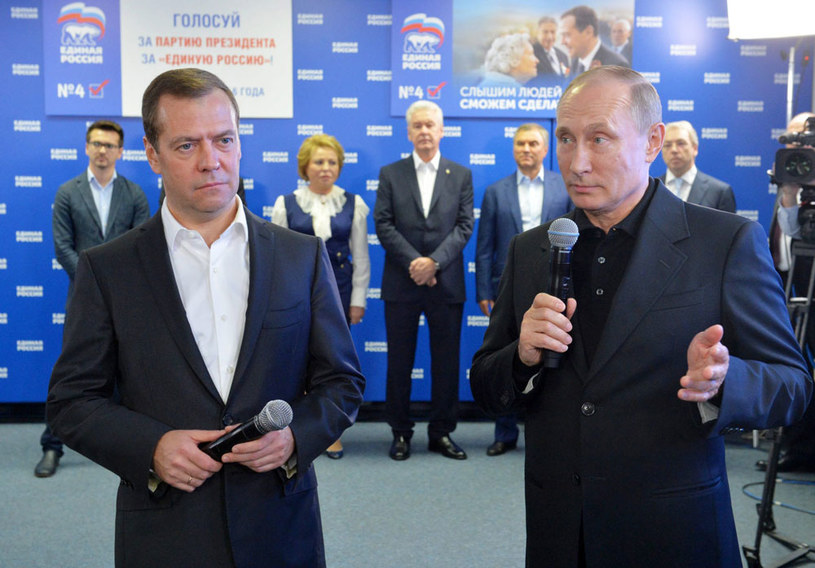 Prezydent Władimir Putin i premier Dmitrij Miedwiediew w sztabie wyborczym Jednej Rosji /ALEXEI DRUZHININ/SPUTNIK/KREMLIN POOL /PAP/EPA