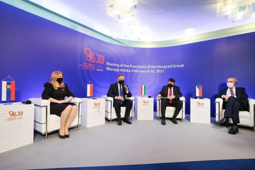 Prezydentka Słowacji i prezydenci Polski, Węgier oraz Czech podczas spotkania w Juracie /Jakub Szymczuk / KPRP /PAP