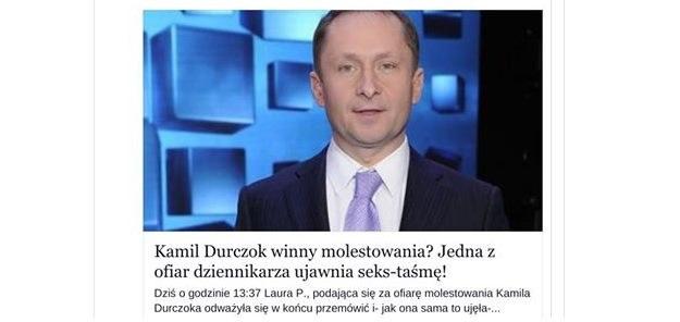 Próba oszukania internautów na Facebooku - cyberprzestępny korzystają z zainteresowania kwestią Kamila Durczoka. Uważajmy i nie klikajmy /materiały prasowe