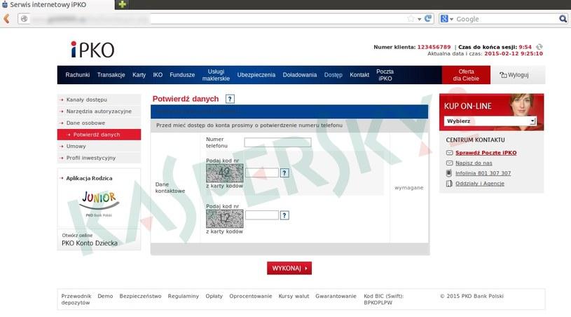 Próba wymuszenia danych (i kodów jednorazowych) klienta banku /materiały prasowe