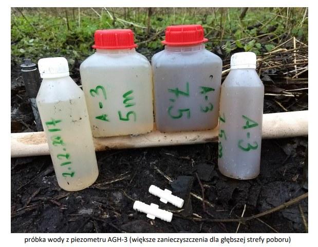 Próbki wody pobrane podczas badania AGH WODA+.