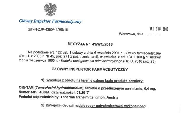 Produkt leczniczy OMI-TAM wycofany z obrotu /