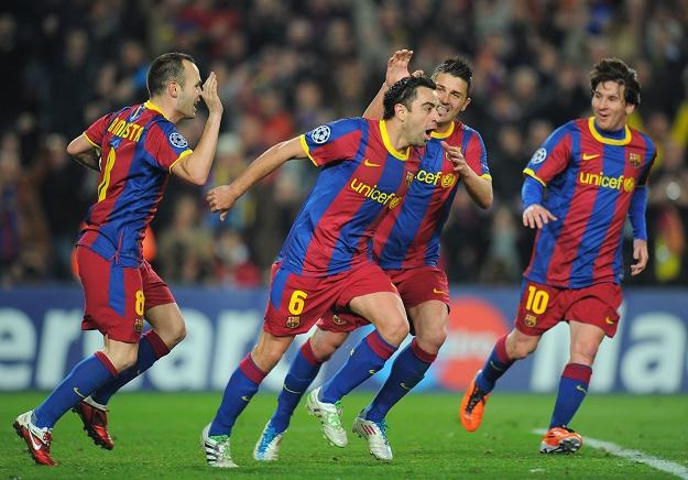 """Produkty"" La Masia: Iniesta, Xavi (za nim Villa) i Leo Messi. /AFP"