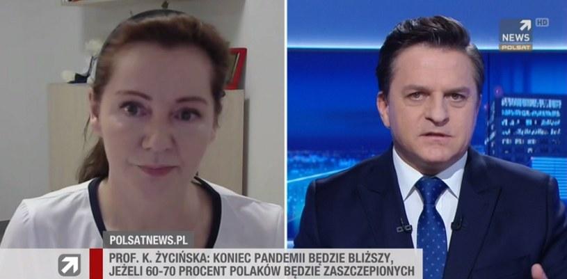 """Prof. Katarzyna Życińska (szefowa Kliniki Chorób Wewnętrznych i Reumatologii stołecznego szpitala MSWiA w """"Gościu Wydarzeń"""". /Polsat News /Polsat News"""
