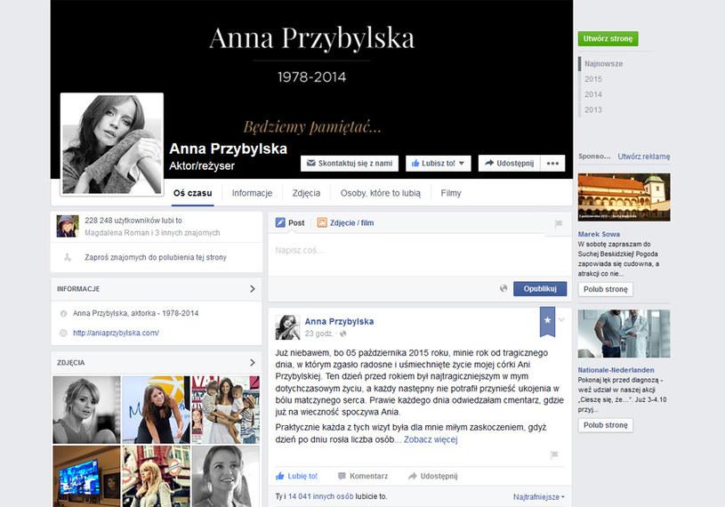 Profil Anny Przybylskiej, wpisów wciąż przybywa /Facebook