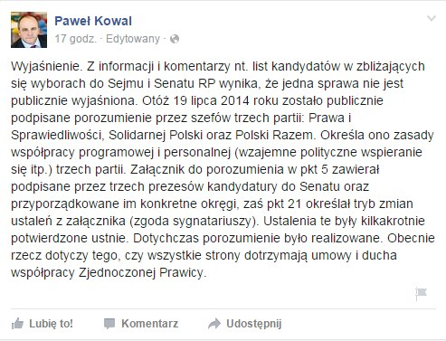 Profil Pawła Kowala na Facebooku /facebook.com