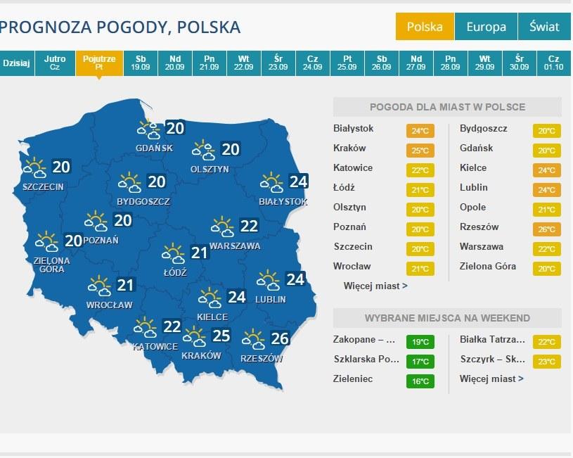 Prognoza na 18 września /INTERIA.PL
