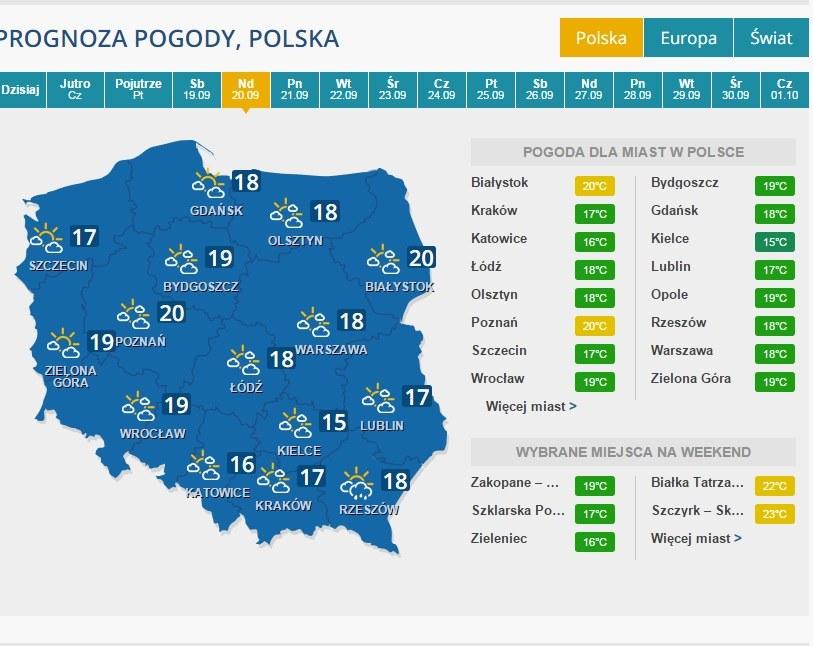 Prognoza na 20 września /INTERIA.PL