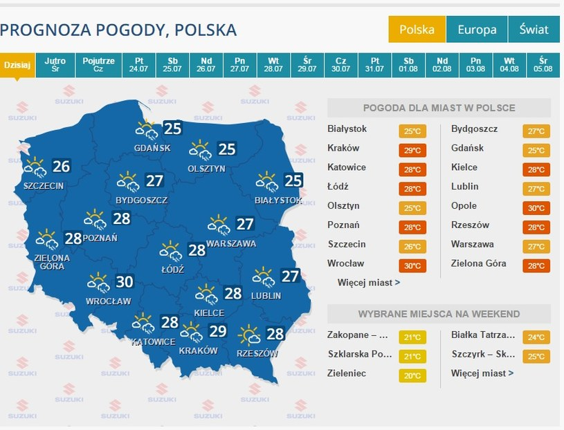 Prognoza na 21 lipca /INTERIA.PL